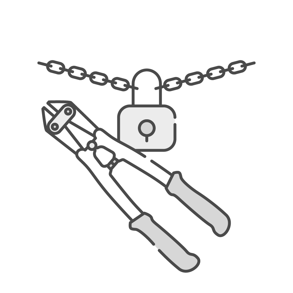 chain-with-lock-and-the-bolt-cutters